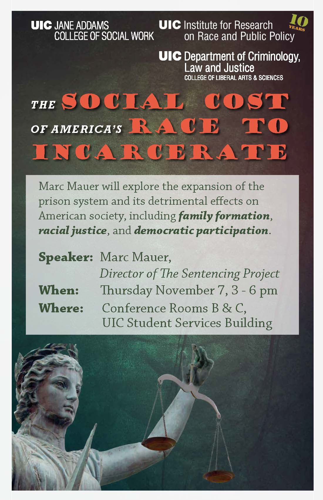 Event Poster for The Social Cost of America's Race to Incarcerate