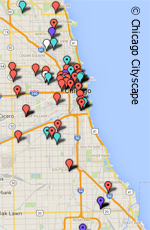 map of chicago's altered water towers